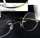 Vintage round Titanium reading glasses rimless super light 1 to 4 screwless-Gold