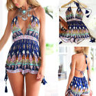 Sexy Tropical Spaghetti Strap Jumpsuit Romper Deep V Neck Summer Playsuit