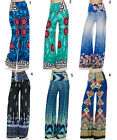 Palazzo pants border print wide leg Pant yoga casual party high waist S M L