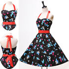 UK CHEAP 50'S RETRO VINTAGE STYLE FLORAL ROCKABILLY SWING FLORAL DRESS PLUS++