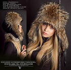 Trapper fur hat - Russian raccoon - Leather top variations - Made in Russia