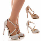 LADIES WOMENS DIAMANTE HIGH HEEL SANDALS PEEP TOE PARTY PROM WEDDING SHOES SIZE