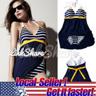 US LOCAL Women One Piece Retro Navy Bikini Swimwear Beach Set Bathing Plus Size