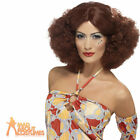 1970s Afro Brown Wig with Middle Parting Ladies Fancy Dress Costume Accessory