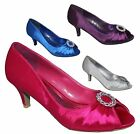 NEW WOMENS LADIES PARTY EVENING WEDDING PEEPTOE PINK BLUE SILVER PURPLE SHOES