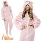 Adult Pig Onesie Costume Farm Animal Babe Fancy Dress Ladies Mens Outfit New