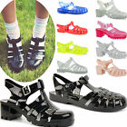 WOMENS LADIES FLAT SUMMER BEACH JELLY FLIP FLOP TOE SANDALS DIAMANTE SHOES SIZE