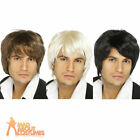 Boy Band Wig Blonde Brown Black Mens 80s Fancy Dress Costume Accessory