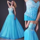 UK fast Blue +Long Diamond Bridesmaid Cocktail Formal Evening Party Prom Dresses