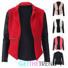 LADIES QUILTED ZIP PU BLAZER WET LOOK QUILTED BLAZER JACKET WATERFALL TOP