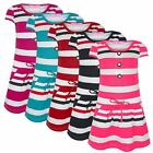 GIRLS STRIPY POCKET DRESS KIDS BUTTON TOP PARTY CASUAL STRETCHY SIZE 1-12 YEARS