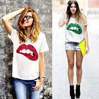 Summer Fashion Women's Sequin Lips Jersey T-Shirt Loose Casual Tops Blouse Tee