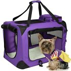 Oxford Pet Dog Carrier Portable House Soft Sided Cat Travel Tote Bag Purple Set