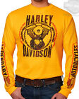 Harley-Davidson Mens V-Twin Motor & Bike Chain Yellow Long Sleeve Crew T-Shirt
