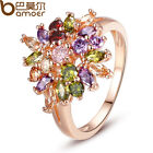 Lurxury Women Ladies Rose Gold Plated Finger Ring With Multi-colors AAA Zircon