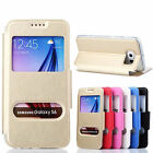 Fold Flip PU Leather case Clear back rubber Cover For Samsung Galaxy S6 /S6 Edge