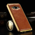 Metal Aluminum Frame Bumper Leather Back Cover Case For Samsung Galaxy A3 A5 A7