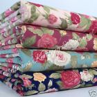 Per half metre/fat quarter vintage TEA ROSE fabric 100 % cotton pink blue green