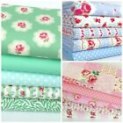 Pastel floral fat quarter bundles yellow, pink blue & mint 100 % cotton fabric
