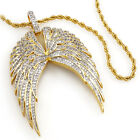 18k Gold Plated Wing Stainless Steel Chain Bling Out Iced Cz Pendant Necklace