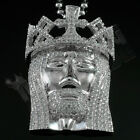 18K White Gold Plated JESUS PIECE Iced Out Crown Pendant Chain Hip Hop Necklace
