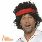 80s Tennis Player Wig + Headband Mens Sport Fancy Dress John Costume Accessory