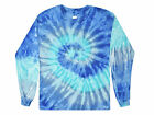 Blue Jerry Long Sleeve Tie Dye T-Shirt Adult S - 3X Cotton Gildan by Colortone image