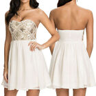 Graceful Strapless Sequin Flower Bandeau Ruched Party Evening Mini Skater Dress