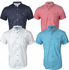 Mens Shirts Threadbare Linen Chambray Short Sleeved Collared Plain Casual Summer