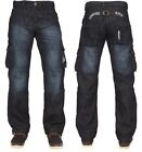 MENS EZ08 ENZO BRANDED CARGO COMBAT IN BLUE DARK WASH COLOUR JEANS SIZES 28-42