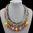 Fashion Colorized Knit Chain Crystal Water Drop Bubble Beads Chunky Necklace TOP