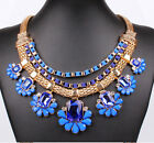 Gorgeous Multi Layer Crystal Handmade Rope Flower Bib Statement Collar Necklace