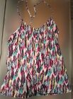 Ecko Red Women's Tank Top Printed  Multicolored Feather Button up Blouse NWT