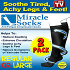 2 Pr Compression MIRACLE SOCKS or COPPER Infused, Varicose Veins, Flight, Travel