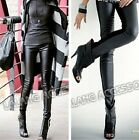 Fashion Women Punk Black Leggings Cotton PU Leather Stitching Nine Trousers LA