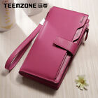 Women Genuine Leather Wallet Purse Hit color stitching ID Card Holder 26 Slots
