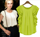FD2103 Women Lady Chiffon Pleated Ruffles Casual Blouse Top Shirt ~2 Colors~