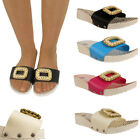 New Womens Wedge Sandals Ladies Beach Pearl Brooch Holiday Summer Slippers 3 - 8
