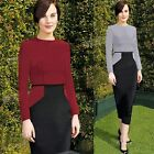 Women Elegant Colorblock Tunic Wear To Work Party Pencil Cocktail Midi Dresses