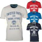 Mens Twisted Faith Vintage Print Crew Neck Regular Fit Designer T-Shirt Size