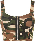 Womens Padded Bra Camouflage Strappy Zip Ladies Crop Bralet Sleeveless Top 8 -14