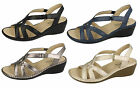 Ladies Eaze velcro strap wedge sandals F3111 4 colours available