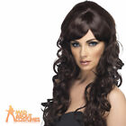Ladies Long Curly Brown Wig Cheryl Cole Pop Starlet Fancy Dress Accessory New