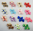 1-15 pairs Wholesale Pet Dog Cat Handmade Printing Design Hair Bow Rubber Bands