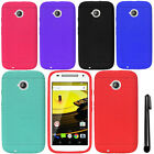 For Motorola Moto E LTE 2nd Gen 2015 Ultra Thin SILICONE Rubber Case Cover + Pen