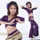 SF13# Belly Dance Costume (Half Sleeve Top,Coins Hip Scarf,Flared Pants)9 Colors