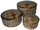 TREE OF LIFE JEWELLERY TRINKET STORAGE BOXES ROUND MANGO WOOD SET/3 SM/MED/LG