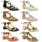 NEW WOMENS LADIES FLAT CUT OUT STRAPPY GOLD TRIM SUMMER EVENING SANDALS SIZE