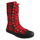 Blue Banana Footwear Black Red Extra Tall Tartan Boots Check Punk High Shoes