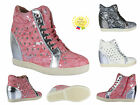 WOMENS LADIES GIRLS HI TOP ANKLE WEDGE TRAINERS VELCRO DIAMANTE BOOTS SHOES SIZE